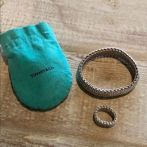 Tiffany & Co. mesh bracelet and matching ring